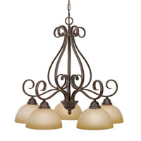 Golden Lighting Riverton 5 Light Chandelier in Peppercorn with Linen Swirl Glass 1567-D5-PC