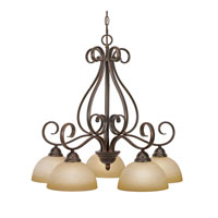 Golden Lighting Riverton 5 Light Mini Chandelier in Peppercorn 1567-D5-PC