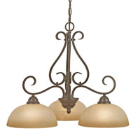 Golden Lighting Riverton 3 Light Chandelier in Peppercorn with Linen Swirl Glass 1567-ND3-PC