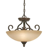 Golden Lighting Riverton 3 Light Convertible Semi-Flush in Peppercorn with Linen Swirl Glass 1567-SF-PC