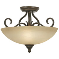 Riverton 3 Light 15 inch Peppercorn Semi-Flush Ceiling Light, Convertible