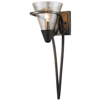 Golden Lighting Olympia 1 Light Wall Sconce in Burnt Sienna with Baltic Amber Glass 1648-1W-BUS