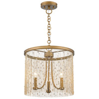 Golden Lighting 1771-3P-PG-CRY Marilyn 3 Light 15 inch Peruvian Gold Pendant Ceiling Light