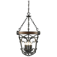 Golden Lighting 1821-3P-BI Madera 3 Light 17 inch Black Iron Pendant Ceiling Light