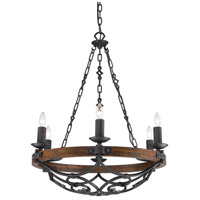 Golden Lighting Madera 6 Light Chandelier in Black Iron with Metal Candle Sleeves 1821-6-BI