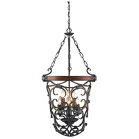 Madera 6 Light 20 inch Black Iron Foyer Chandelier Ceiling Light, 2 Tier