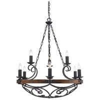 Madera 9 Light 35 inch Black Iron Chandelier Ceiling Light, 2 Tier