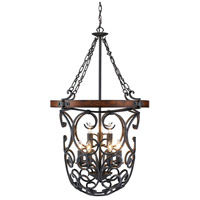 Madera 9 Light 27 inch Black Iron Foyer Chandelier Ceiling Light, 2 Tier