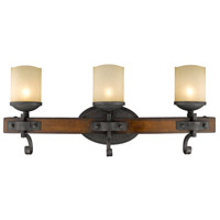 Golden Lighting 1821-BA3-BI Madera 3 Light 24 inch Black Iron Bath Vanity Wall Light
