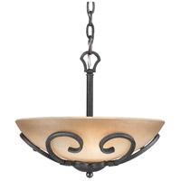 Golden Lighting 1821-BP3-BI Madera 3 Light 13 inch Black Iron Pendant Ceiling Light Convertible