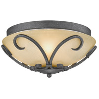 Golden Lighting Madera 3 Light Flush Mount in Black Iron with Toscano Glass 1821-FM-BI