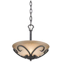 Madera 3 Light 13 inch Black Iron Semi-Flush Ceiling Light, Convertible