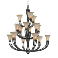 Golden Lighting Genesis 15 Light Chandelier in Roan Timber with Evolution Glass 1850-15L-RT