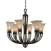 Golden Lighting Genesis 6 Light Chandelier in Roan Timber with Evolution Glass 1850-6-RT