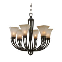 Golden Lighting Genesis 6 Light Chandelier in Roan Timber 1850-6-RT