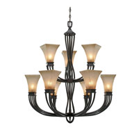 Genesis 9 Light 36 inch Roan Timber Chandelier Ceiling Light, 2 Tier
