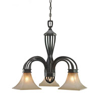 Golden Lighting Genesis 3 Light Chandelier in Roan Timber with Evolution Glass 1850-ND3-RT photo thumbnail