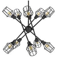 Golden Lighting 1945-10-BLK-WIRE-BLK Axel 10 Light 43 inch Matte Black Chandelier - Large Ceiling Light