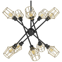 Golden Lighting 1945-10-BLK-WIRE-OG Axel 10 Light 43 inch Matte Black Chandelier - Large Ceiling Light in Olympic Gold