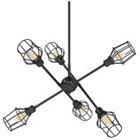 Golden Lighting 1945-6-BLK-WIRE-BLK Axel 6 Light 37 inch Matte Black Chandelier Ceiling Light