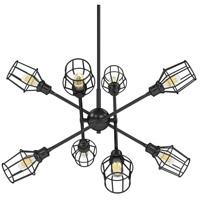 Golden Lighting 1945-8-BLK-WIRE-BLK Axel 8 Light 39 inch Matte Black Chandelier - Large Ceiling Light