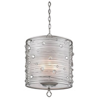 Golden Lighting 1993-3P PS Joia 3 Light 15 inch Peruvian Silver Pendant Ceiling Light in Sterling Mist Drum