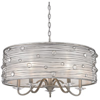 Golden Lighting Joia 5 Light Chandelier in Peruvian Silver with Sterling Mist Shade 1993-5-PS