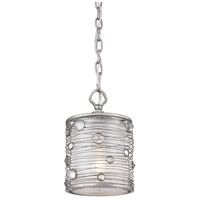 Golden Lighting Joia 1 Light Mini Pendant in Peruvian Silver with Sterling Mist Shade 1993-M1L-PS