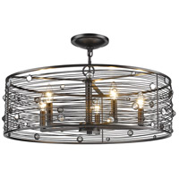 Golden Lighting 1998-5SF-EBB Bijoux 5 Light 26 inch Brushed Etruscan Bronze Semi-Flushmount Ceiling Light
