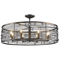 Golden Lighting 1998-8SF-EBB Bijoux 8 Light 33 inch Brushed Etruscan Bronze Semi-Flushmount Ceiling Light