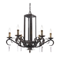 Golden Lighting Valencia 6 Light Chandelier in Fired Bronze with Clear Glass 2049-6-FB