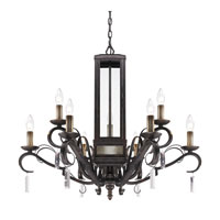 Golden Lighting Valencia 9 Light Chandelier in Fired Bronze with Clear Glass 2049-9-FB