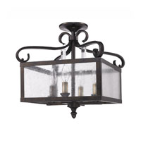 Golden Lighting Valencia 4 Light Convertible Semi-Flush in Fired Bronze with Seeded Glass 2049-SF-FB