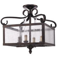 Golden Lighting Valencia 4 Light Semi-Flush (Convertible) in Fired Bronze 2049-SF-FB