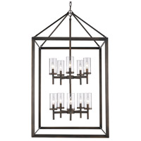 Smyth 10 Light 27 inch Gunmetal Bronze Pendant Ceiling Light in Clear Glass
