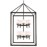 Smyth 10 Light 27 inch Gunmetal Bronze Pendant Ceiling Light in Opal Glass