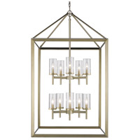 Smyth 10 Light 27 inch White Gold Pendant Ceiling Light in Clear Glass