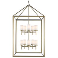 Smyth 10 Light 27 inch White Gold Pendant Ceiling Light in Opal Glass