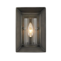 Golden Lighting Smyth 1 Light Wall Sconce in Gunmetal Bronze with Clear Glass 2073-1W-GMT