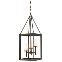 Golden Lighting 2073-3P-GMT-OP Smyth 3 Light 12 inch Gunmetal Bronze Pendant Ceiling Light in Opal Glass