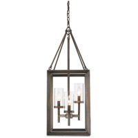 Golden Lighting 2073-3P-GMT Smyth 3 Light 12 inch Gunmetal Bronze Pendant Ceiling Light in Clear Glass