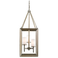 Smyth 3 Light 12 inch White Gold Pendant Ceiling Light in Opal Glass