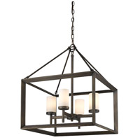 Golden Lighting Smyth 4 Light Chandelier in Gunmetal Bronze 2073-4-GMT-OP
