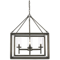 Smyth 4 Light 21 inch Gunmetal Bronze Chandelier Ceiling Light in Clear Glass