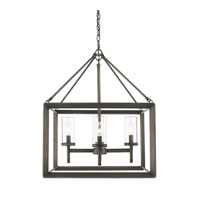 Golden Lighting Smyth 4 Light Chandelier in Gunmetal Bronze with Clear Glass 2073-4-GMT