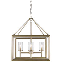 Smyth 4 Light 21 inch White Gold Chandelier Ceiling Light in Clear Glass