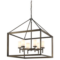 Golden Lighting 2073-6-GMT-OP Smyth 6 Light 27 inch Gunmetal Bronze Chandelier Ceiling Light in Opal Glass