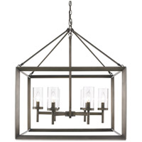 Golden Lighting 2073-6-GMT Smyth 6 Light 27 inch Gunmetal Bronze Chandelier Ceiling Light in Clear Glass