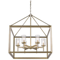 Smyth 6 Light 27 inch White Gold Chandelier Ceiling Light in Clear Glass