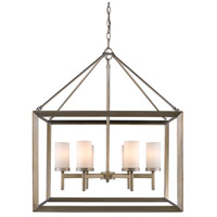 Golden Lighting 2073-6-WG Smyth 6 Light 27 inch White Gold Chandelier Ceiling Light in Opal Glass